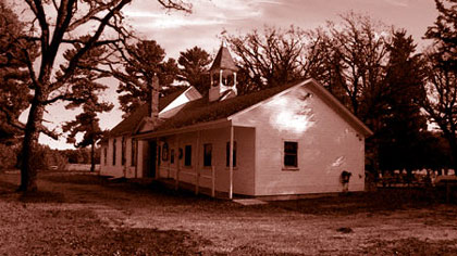 photo of Salem Lutheran Church in duotone